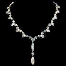 Fabulous Edwardian Moonstone Necklace 14k Gold