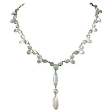 Fabulous Edwardian Moonstone Necklace 14k Gold