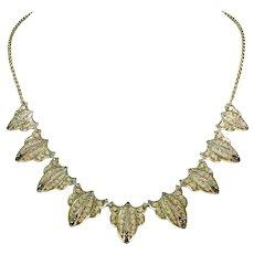 Edwardian Silver Gilt Marcasite Ornate Necklace