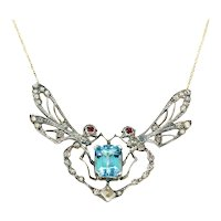 Aqua Diamond Ruby Dragonfly Necklace