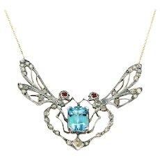Aqua Diamond Ruby Dragonfly Necklace