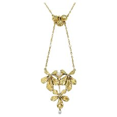 Antique French Gold Buckeye Leaf and Pearl Necklace