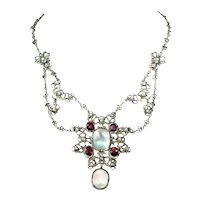 Antique Silver Moonstone Garnet Necklace