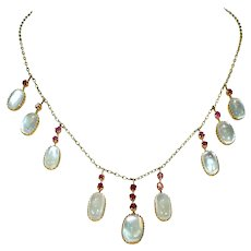 Antique Gold Ruby Moonstone Fringe Necklace