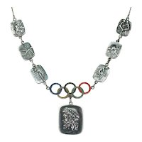 1940's Olympic Silver Enameled Panel Necklace