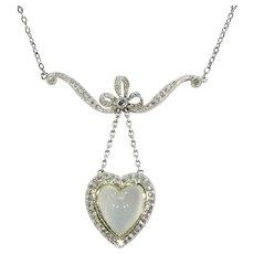 Platinum Diamond Moonstone Heart and Bow Pendant Necklace