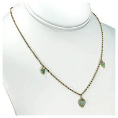Victorian 15k Gold Chalcedony Hearts Necklace