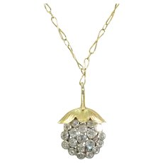 Antique French Diamond Grape Cluster Pendant 18k Gold