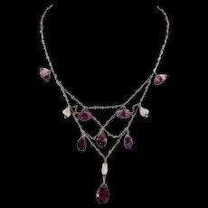 Antique Art and Crafts Silver Amethyst Pearl Bib Necklace