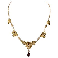 Antique French 18k Gold Garnet Pearl French Necklace Floral