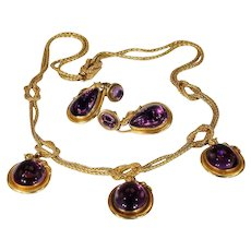 Victorian Amethyst Gold Snake Necklace Earrings Set