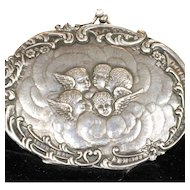 Antique Victorian Sterling Silver and Black Velvet Evening Bag with Angels, Hallmarked 1901