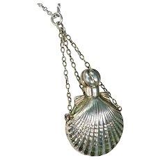 Antique Scallop Shell Perfume Bottle Pendant