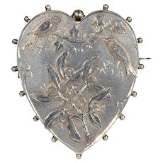 Antique Victorian Heart and Singing Birds Brooch Pin, Hallmarked 1891