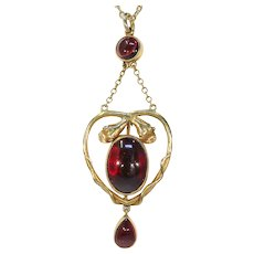 Antique Cabochon Garnet Snake Pendant in 15k Gold