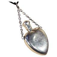 Victorian Sterling Silver Heart-Shaped Perfume Bottle Pendant