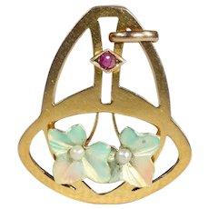 Antique Art Nouveau Enamel, Ruby and Pearl Pendant in 9k Gold