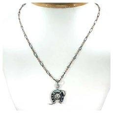 Victorian Niello Horseshoe Crop Necklace Niello Chain