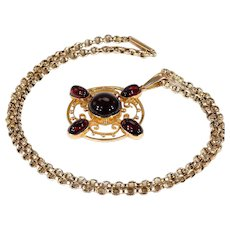 """Antique Garnet and Gold Pendant Necklace on 18.5"""" Chain, 15k and 9k Gold"""