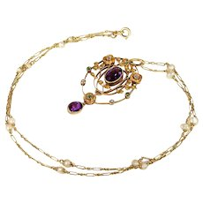 Exceptional Diamond, Amethyst, Demantoid Garnet Suffragette Pendant Necklace by Murrle, Bennett & Co.