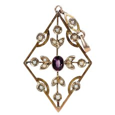 Edwardian 9k Gold Amethyst and Pearl Pendant