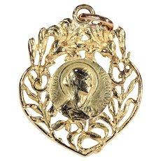 Antique 18 Karat Gold European Art Nouveau Virgin Mary Heart Shaped Pendant c.1910
