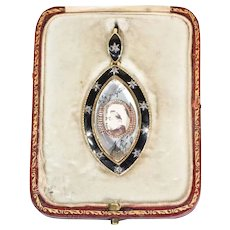Queen Victoria Portrait Black Enamel Diamond Gold Memorial Pendant