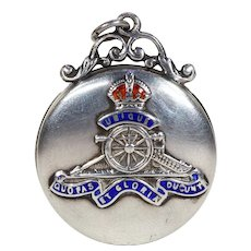 Antique Royal Regiment of Artillery Locket Back Pendant