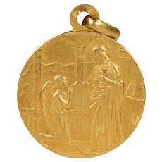 Antique French Jesus and Angel Pendant in 18k Gold