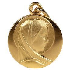Vintage Gold French St. Mary Pendant