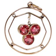 Antique Edwardian Pink Zircon Pendant Gold