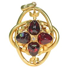 Large Victorian Garnet Diamond Gold Pendant Locket Backed