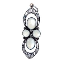Antique Arts and Crafts Silver Moonstone Pendant