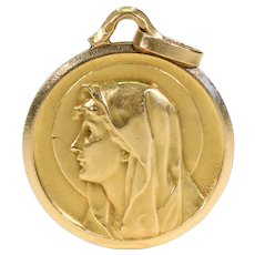 Antique Virgin Mary Pendant 18k Gold