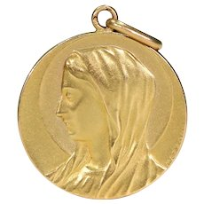 Antique French Virgin Mary Pendant 18k Gold