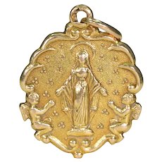 French Virgin Mary Pendant 18k Gold