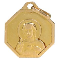 Vintage French Jesus and Mary Pendant 18k Gold