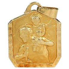 Art Deco St. Christopher Medal Pendant French 18k Gold