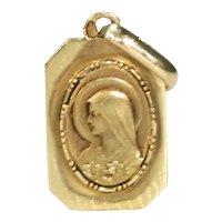 Art Deco French Virgin Mary Pendant 18k Gold