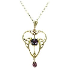 Antique Art Nouveau Amethyst Gold Pendant