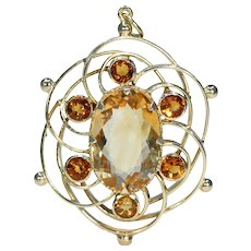 Antique Edwardian Citrine Gold Pendant