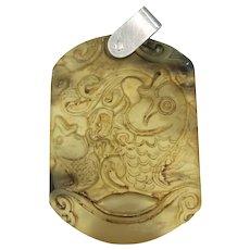 Vintage Jade Fish Pendant Silver Top
