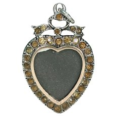 Antique Early Victorian Paste Silver Pendant Heart Locket