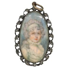 Georgian Diamond Portrait Pendant Locket Hair