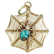 Antique Victorian Spider in Web Pendant Gold with Turquoise and Pearl