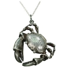 Vintage Italian Silver Crab Pendant Locket Fully Articulated
