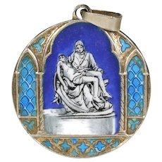 Antique Pietà Enamel Pendant Silver Roman
