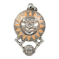 Vintage Silver Pendant Sun Man Orange Enamel Holding Globe