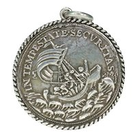 Large Sterling Silver Victorian Fishermans Medal Pendant St. George Christ