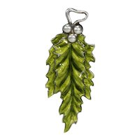 Antique Silver Green Enamel Holly Leaf Pendant